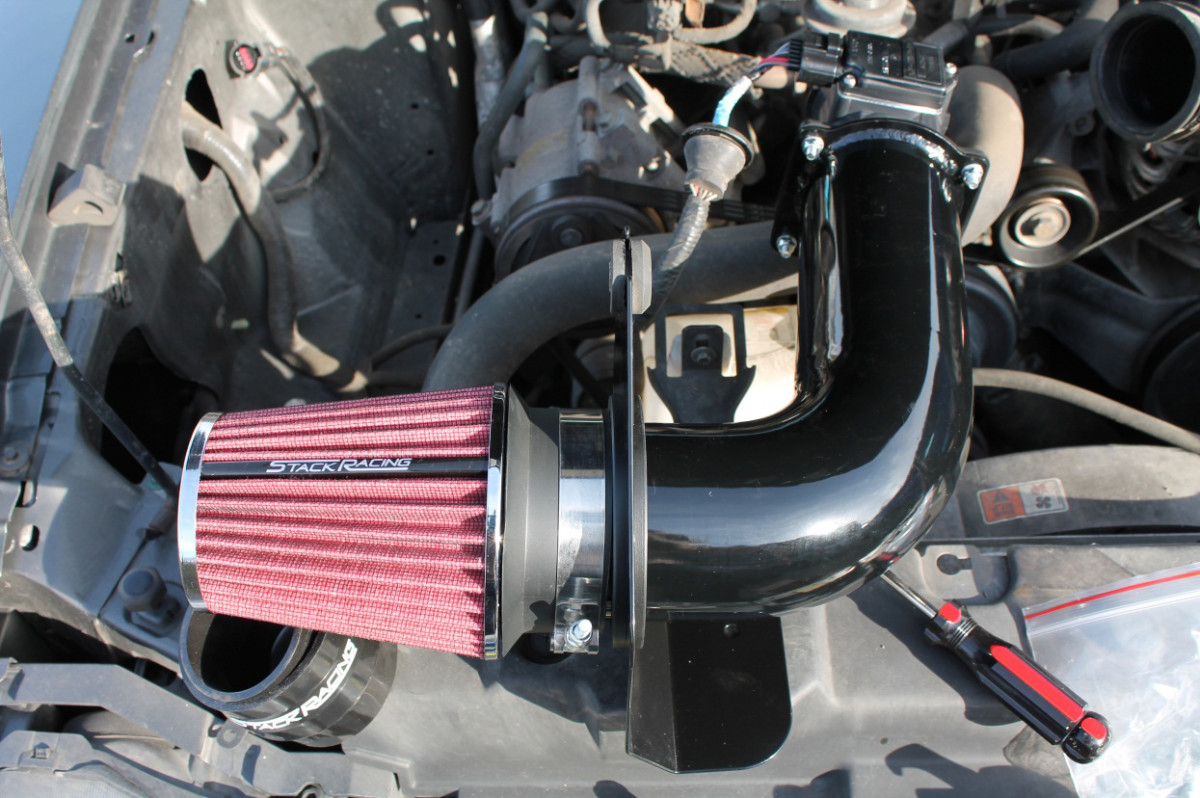 air filter, heat shield, maf sensor assembly