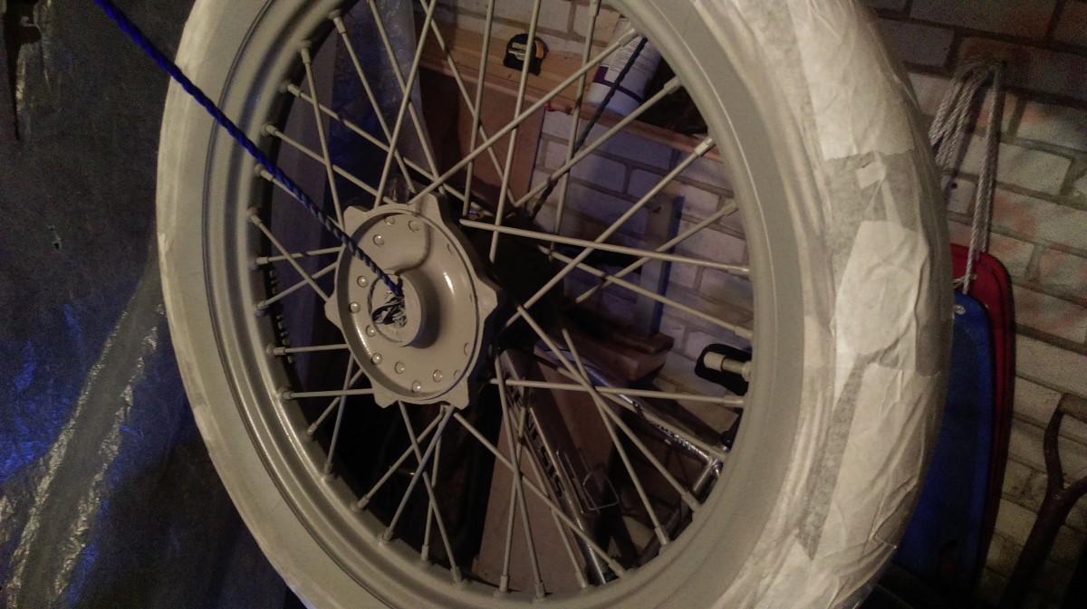 Front wheel primed with etch primer