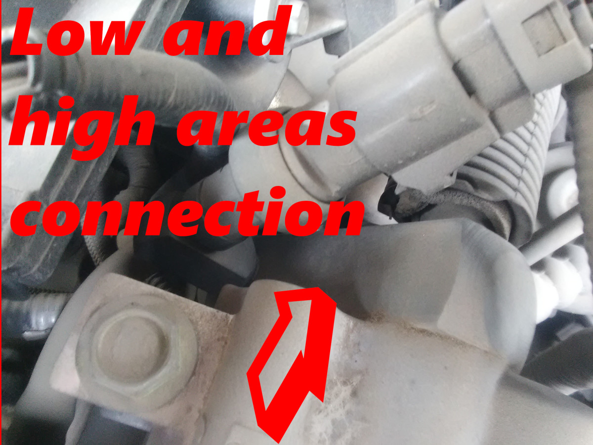 High and low pressure areas equalize after AC system is turned off, producing a hissing noise.