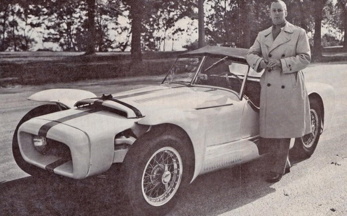 Brooks Stevens next to his 1952 Excalibur