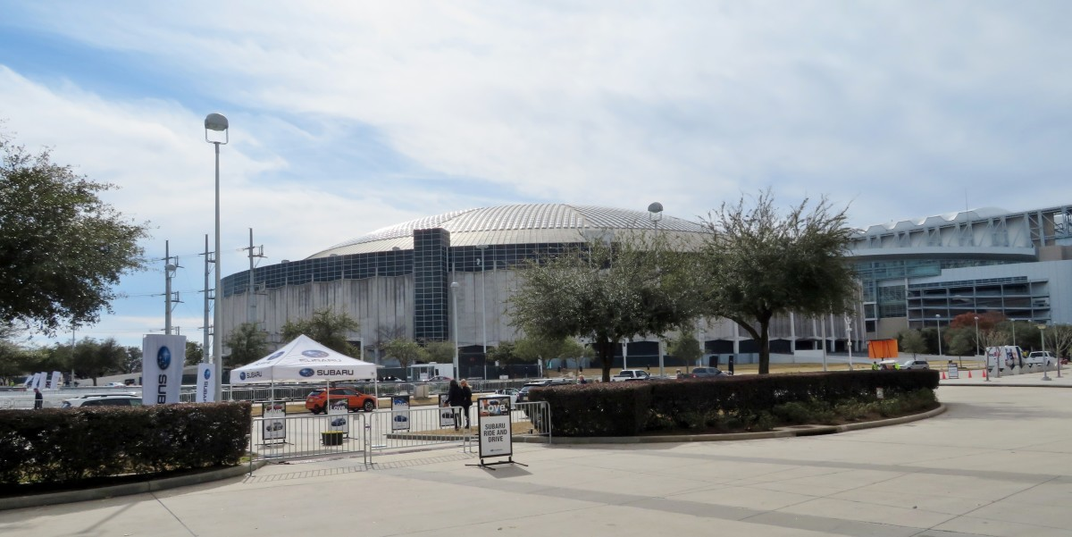 Subaru Test Driving area outside the NRG Center with Astrodome & NRG Stadium in background