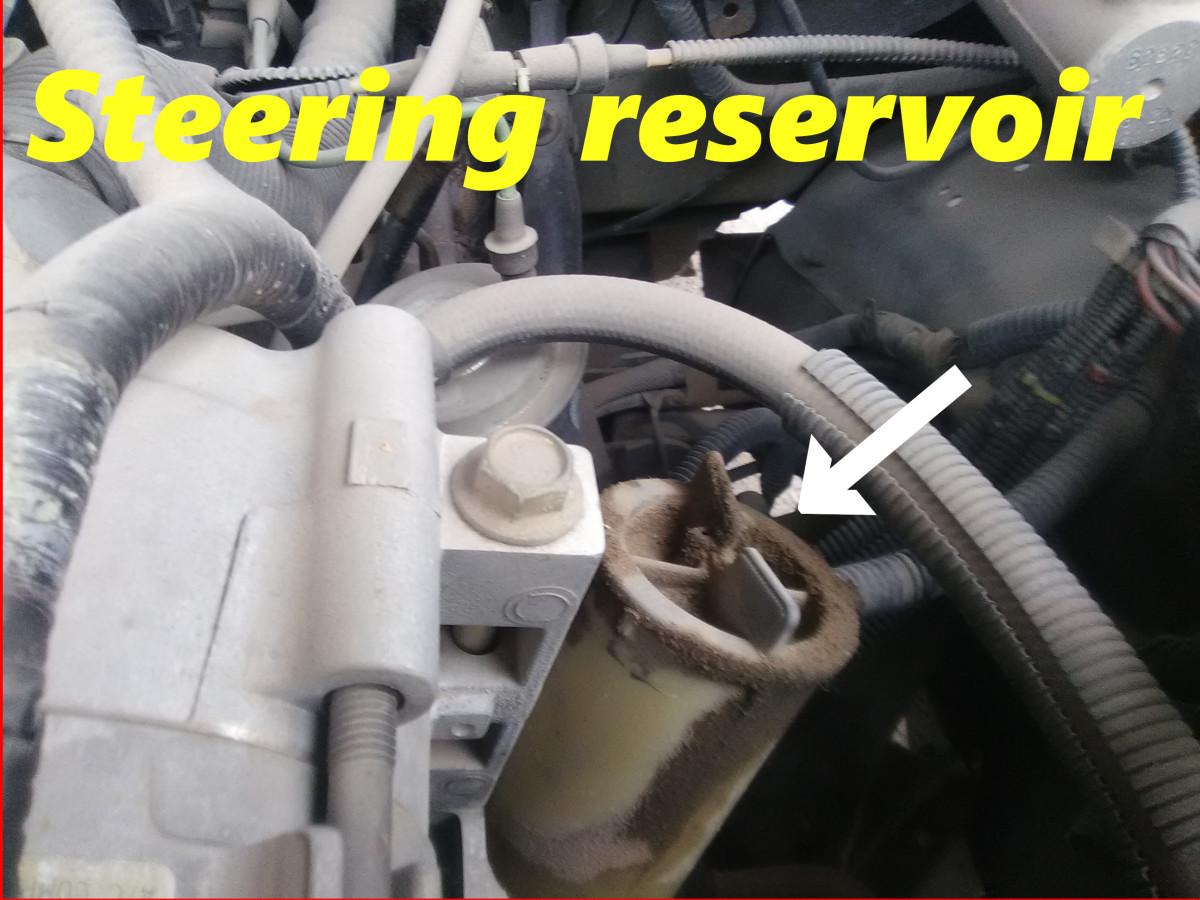 A cracked steering pump reservoir will leak.