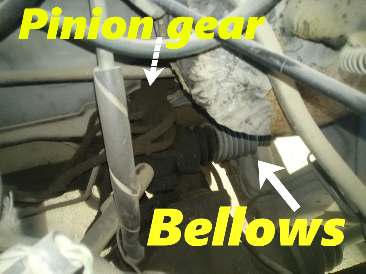 A pinion seal leak will show up in the bellows.