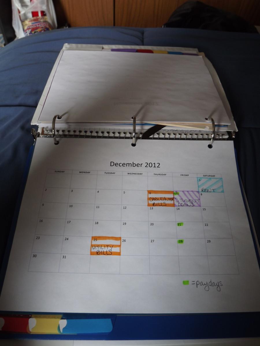 My financial calendar