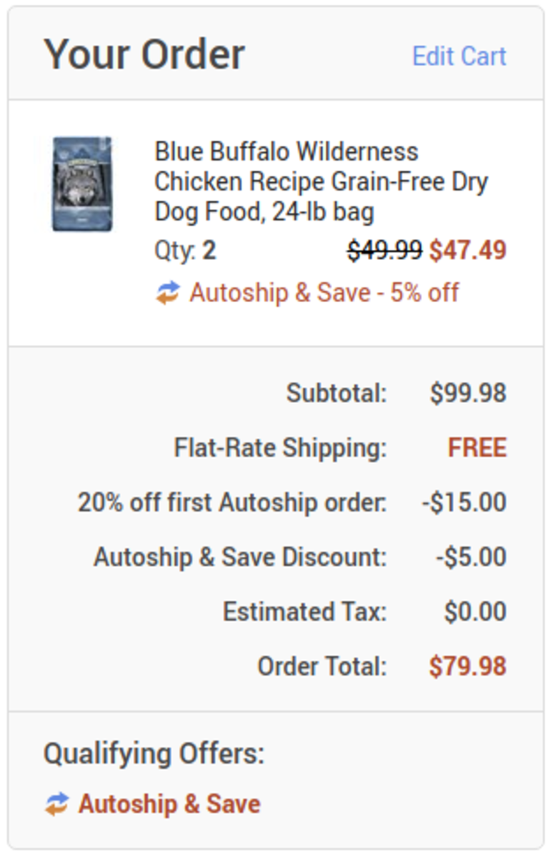 Shopping cart from Chewy after 20% discount for first Autoship order.