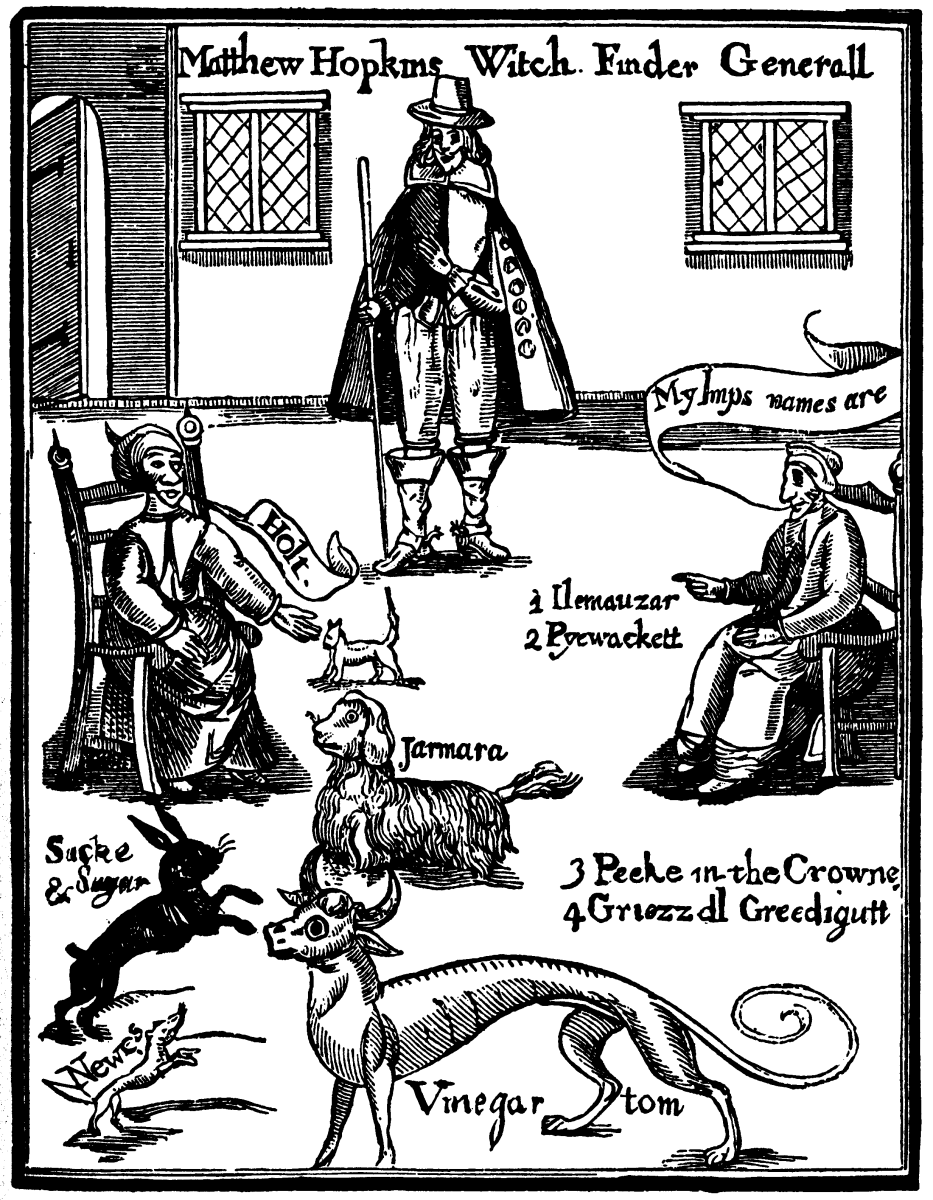 Hopkins Discovery of Witches illustration of the familiars called forth by the witch under interrogation.