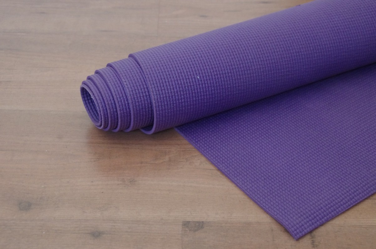 Yoga mats work well to help prevent a senior dog from slipping on hardwood or tile.