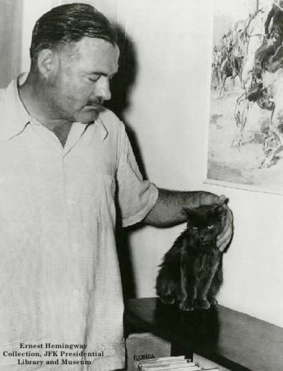 Hemingway and one of his beloved cats.