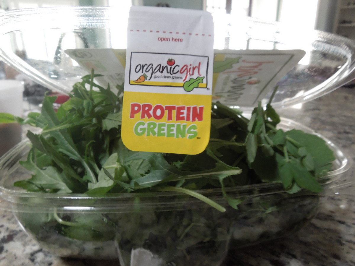 This salad mixture contains pea greens, baby kale, baby bok choy, and others.