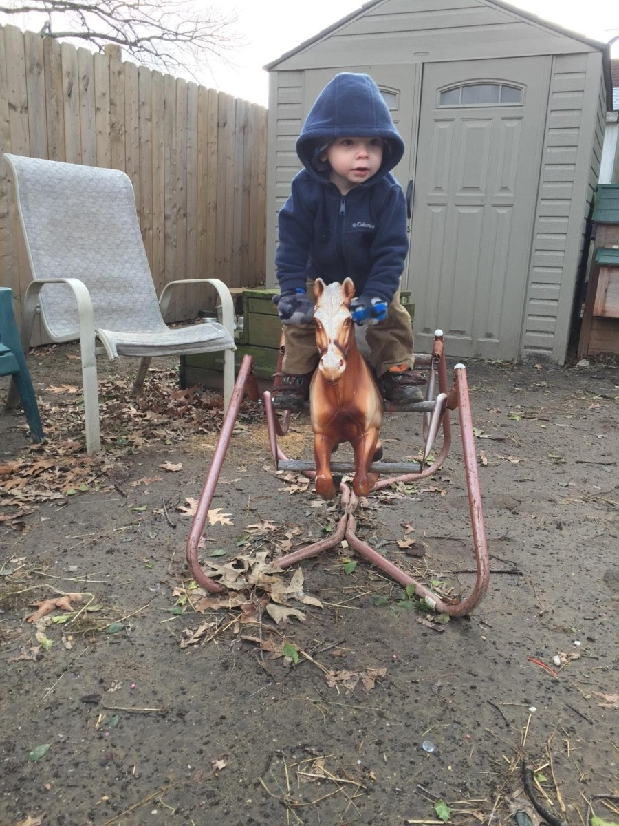 My nephew rode this little dude, and soon after moved on to riding the real ponies. Boys ride too!