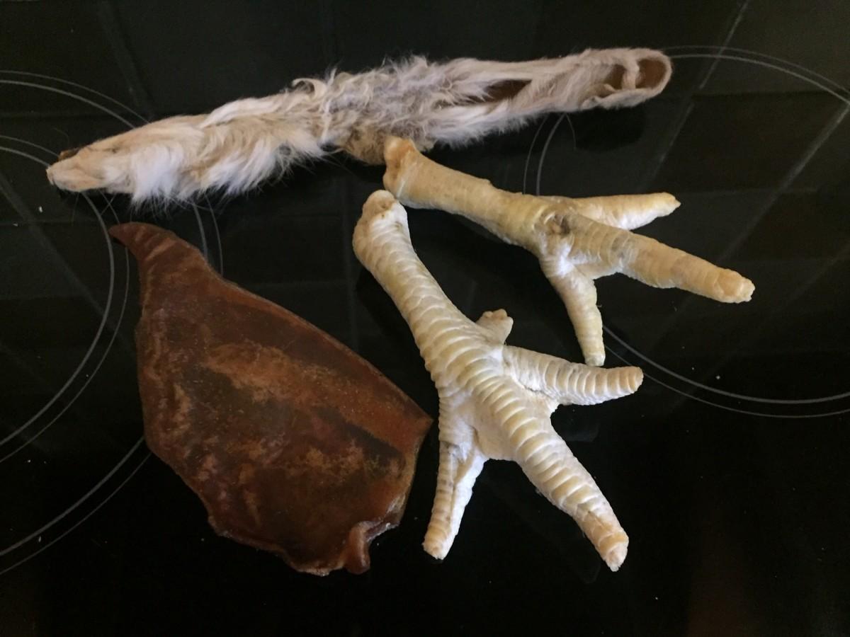 Natural treats - rabbit ear, puffed chicken feet and a pig's ear.