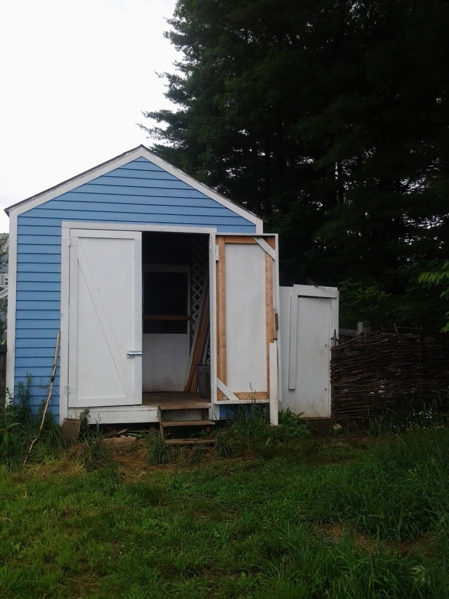 The outside of the coop we built for our chickens. The door to the run is to the right.