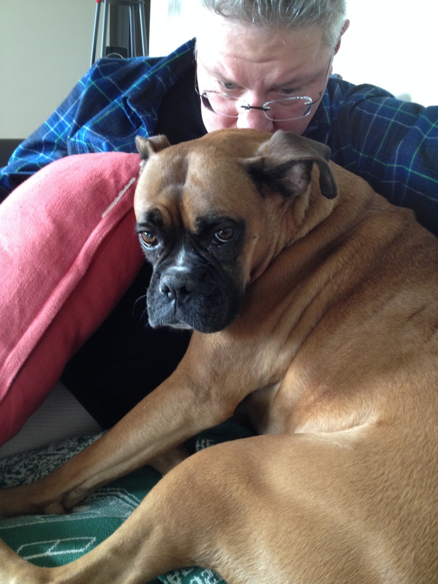 Twins! My husband and our previous boxer, Annie. Can you see the resemblance? ;)