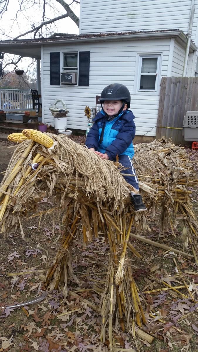"""The safest horse on the farm, """"Husky,"""" the corn husk horse!"""