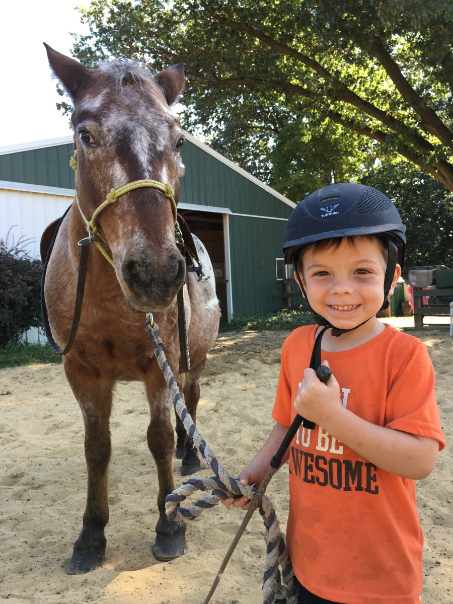 "Oliver and Peanut. Oliver was lucky enough to be born into a ""horsey"" family, but here are some pointers for non-horsey families!"