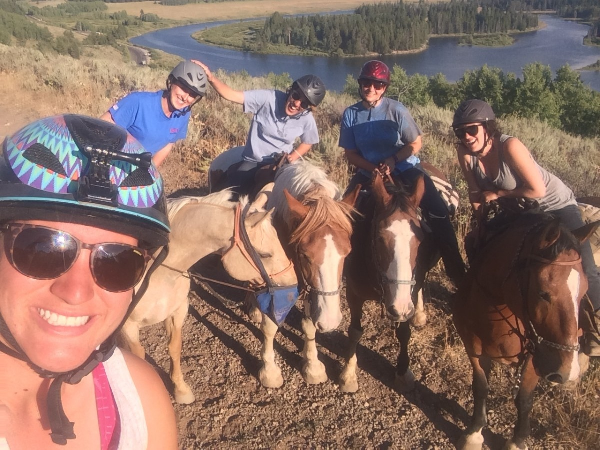 A 'wrangler' ride was a great way to loosen up and relax. Here are me and my girls from Grand Teton Lodge Company on a fun ride.