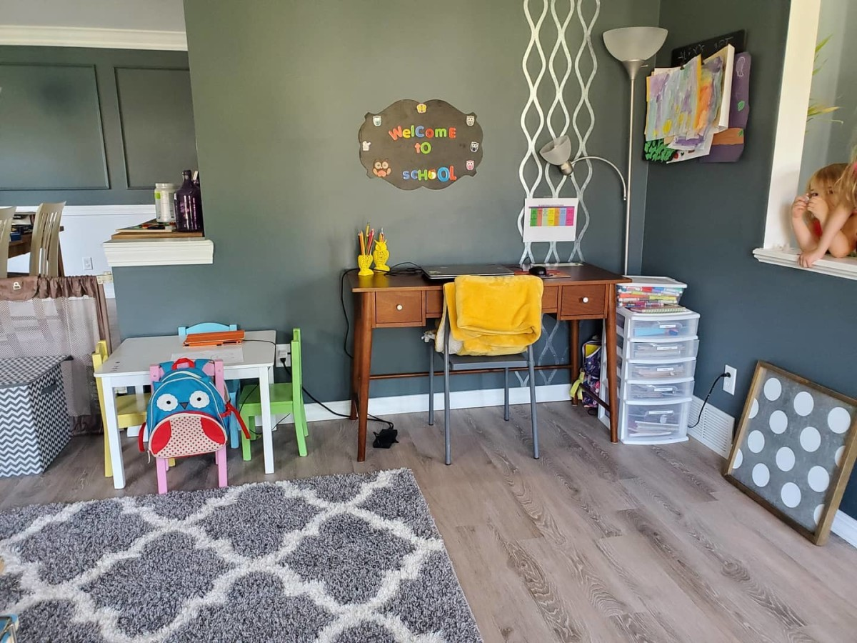 This inviting learning space makes use of the corner of a room.