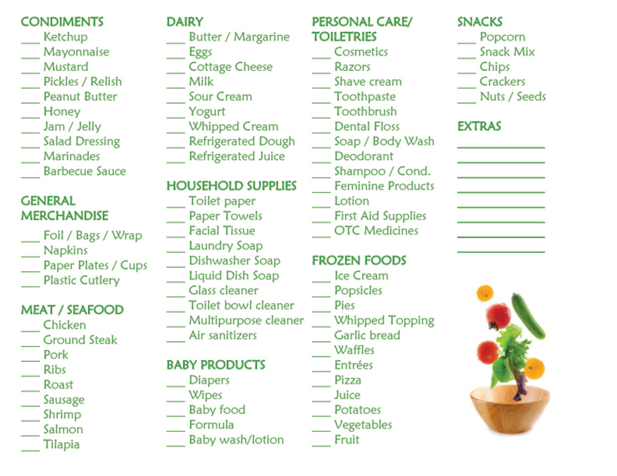 Items that I normally buy are included on my standardized list.  Customize your list according to your family's needs.  Page 2 of 2