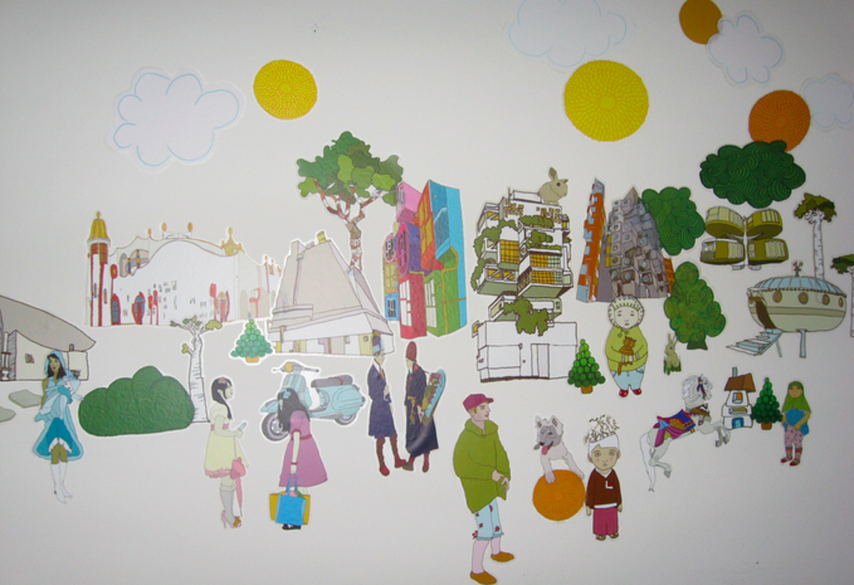 A collection of vinyl stickers brought together to create a scene.