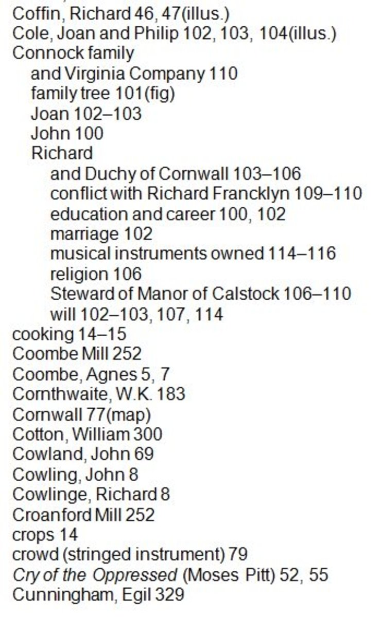 Extract from index to a book on Cornish history produced by WriteAngled