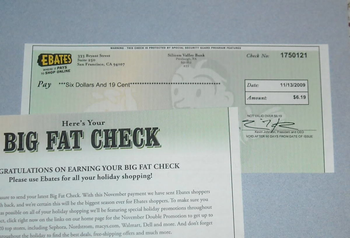 Here is a copy of a check I've received from Ebates.