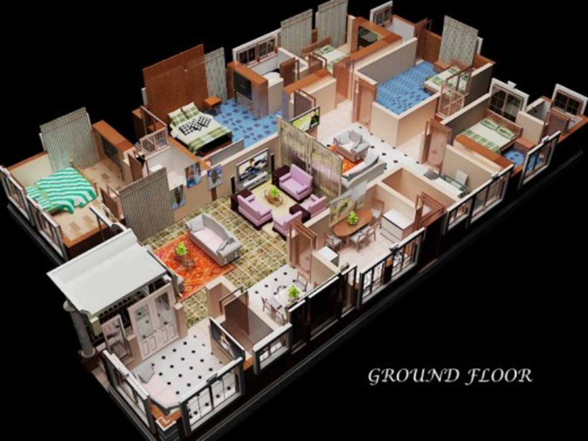 Three-dimensional building model showing the interior design concept.