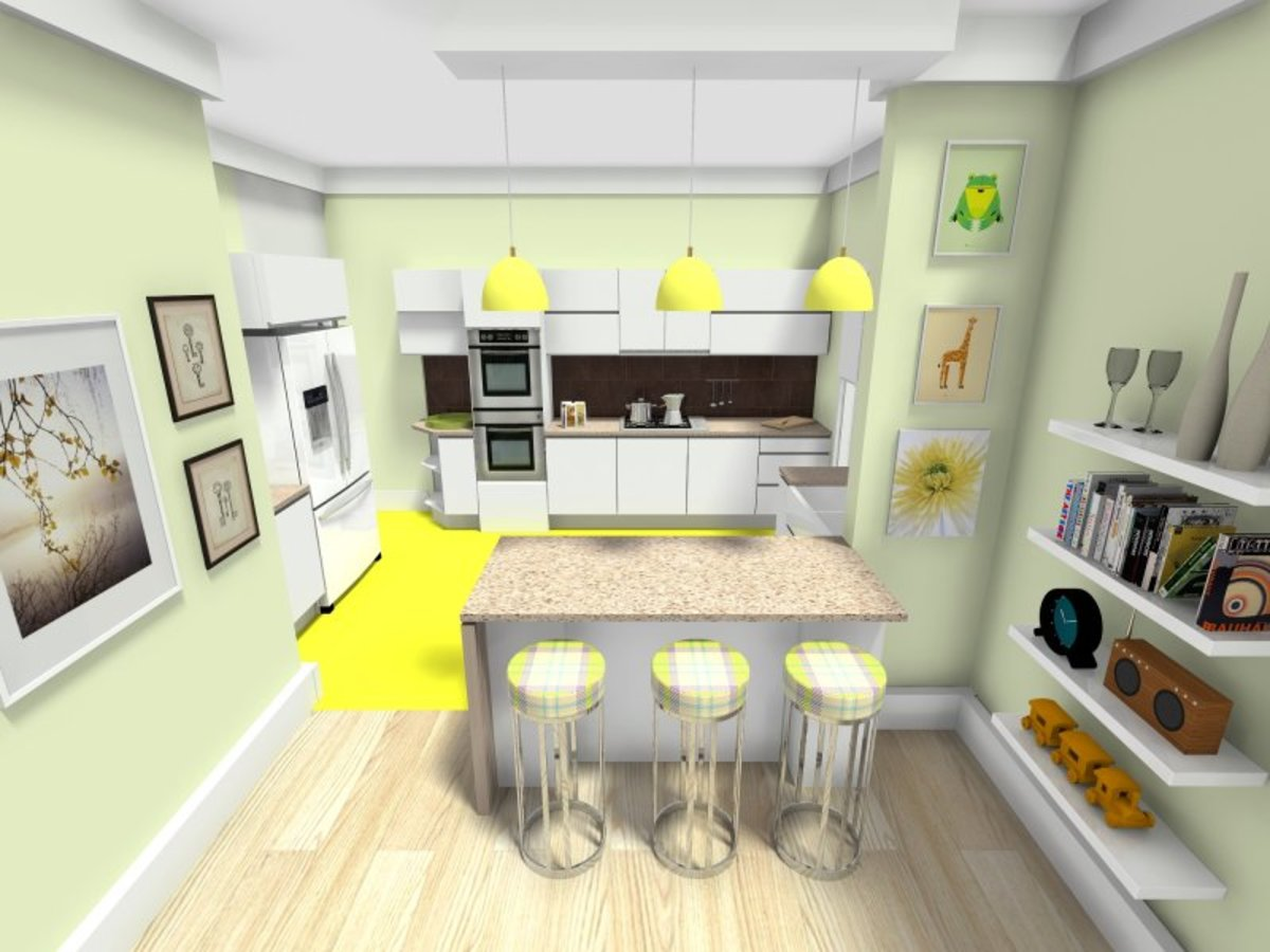 CAD software generated open-kitchen interior design.