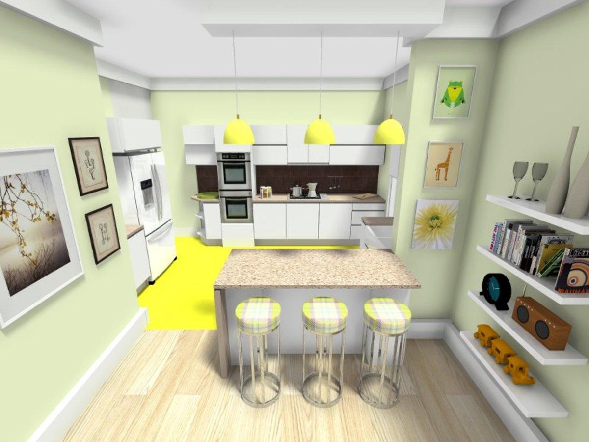 CAD software generated open-kitchen interior design.