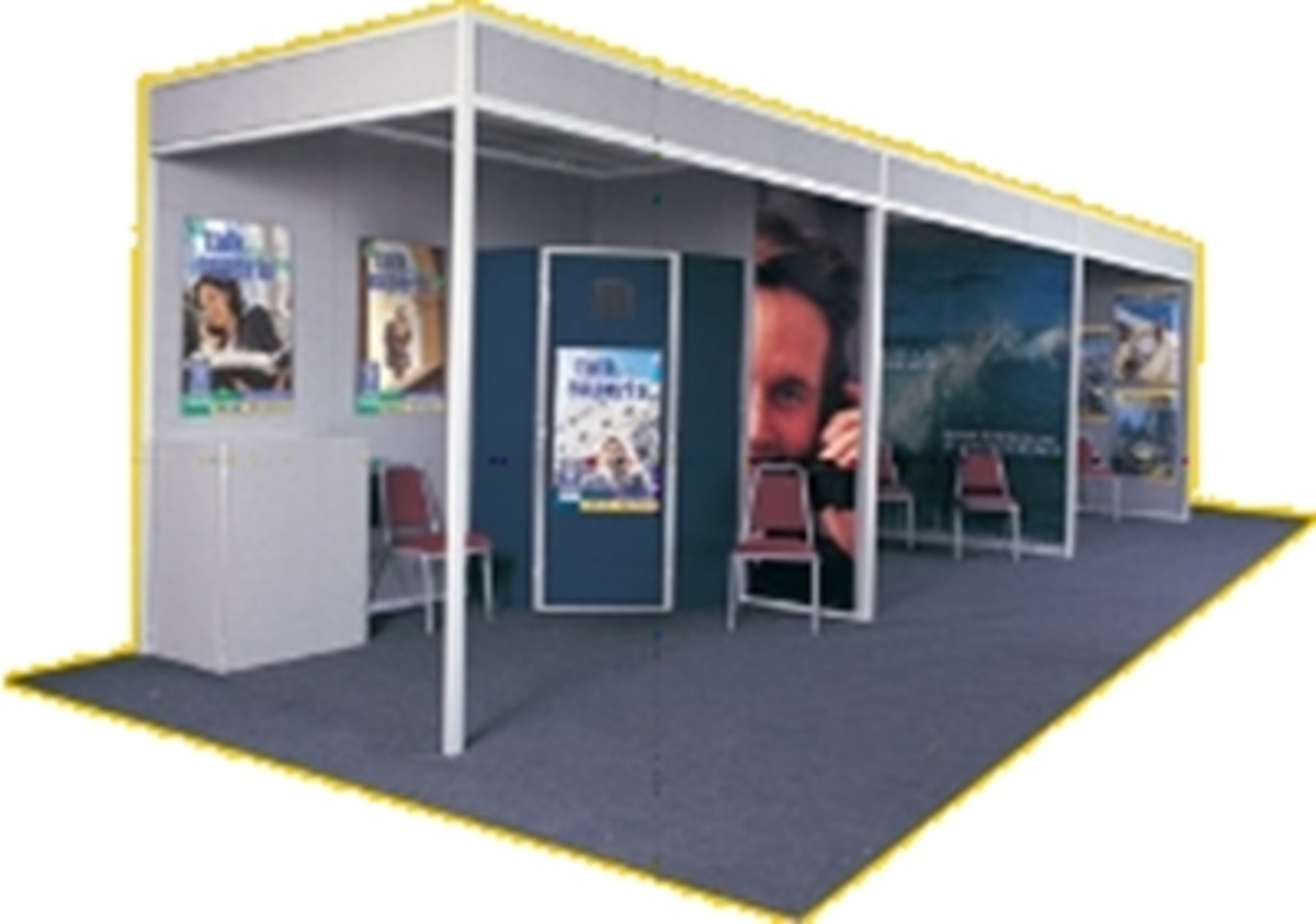 An example of' hardwall exhibit' or 'shell scheme', each compartment is a ready made trade show booth. All you supply is the graphics.