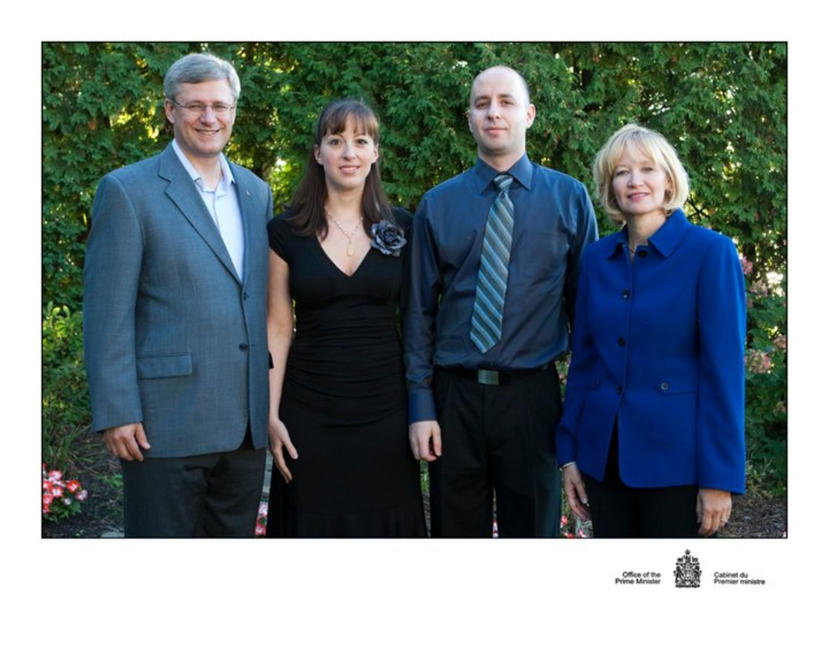My husband and I with the  Prime Minister and his wife Laureen during their summer BBQ at 24 Sussex Drive.