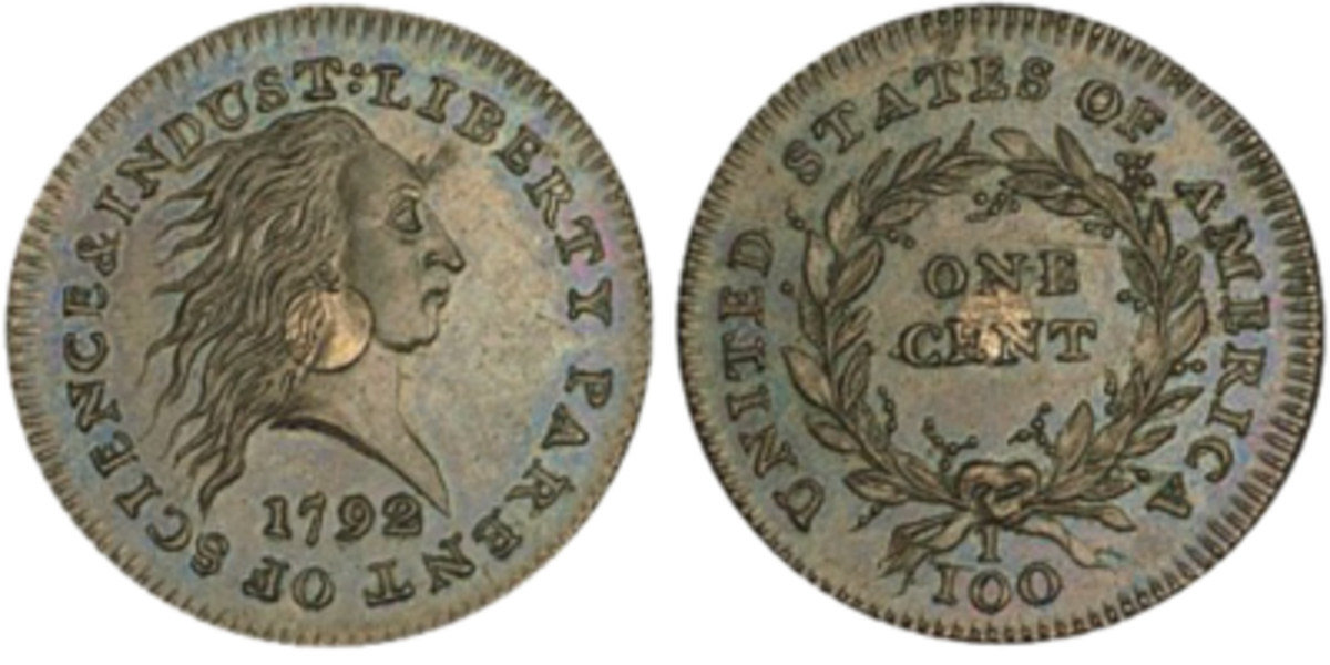 Large cent - flowing Hair silver centered cent, 1792
