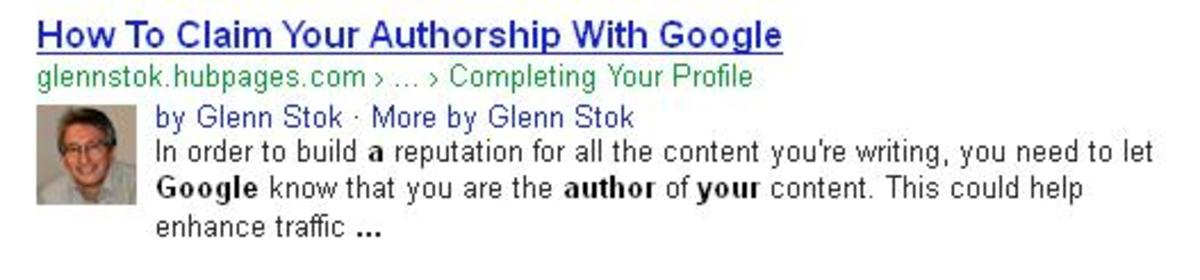 "Google search result for my Hub: ""How To Claim Your Authorship With Google"""