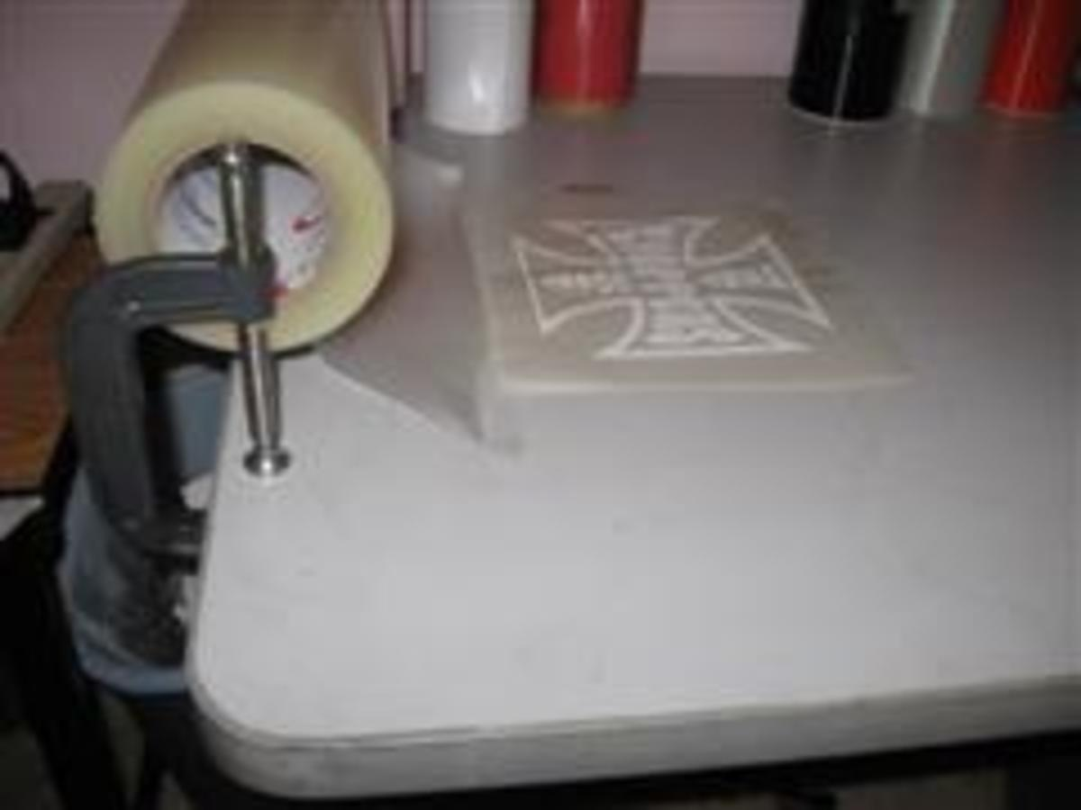 Transfer Tape holder is made from C-clamps
