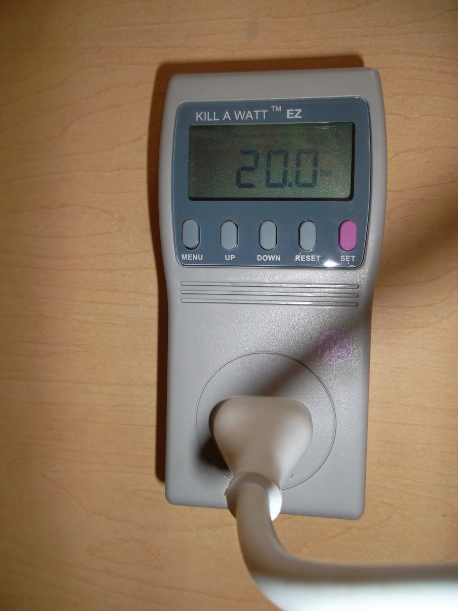 Kill A Watt monitor with a reading of 20 watts for a laptop computer