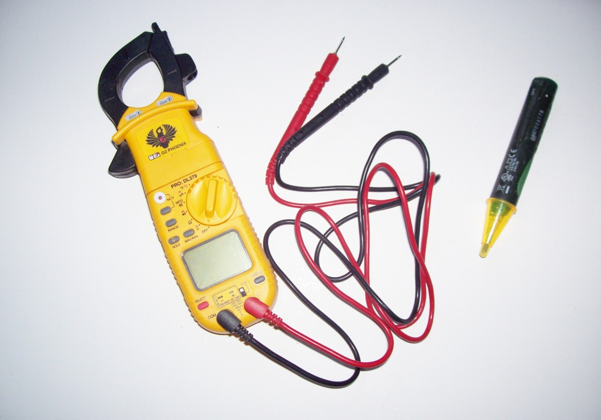 Multi-meter (left), electrical sensor (right)