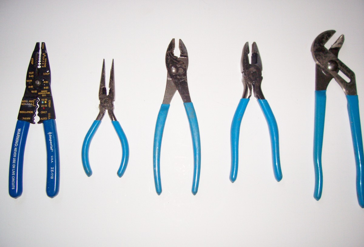 From left to right:  wire strippers, needle-nose, open-face, linesman, and channel-lock pliers.