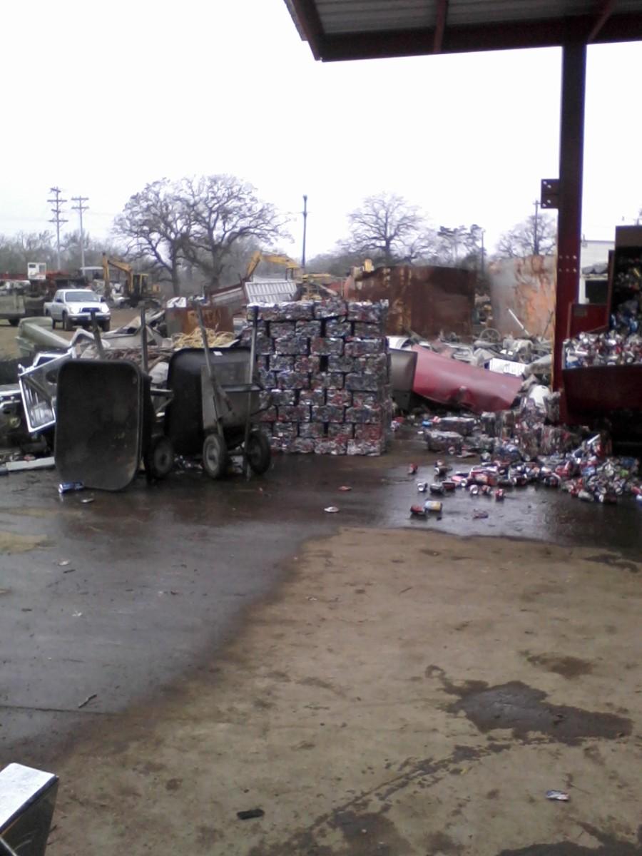 An aluminum can bale at the scrap yard.