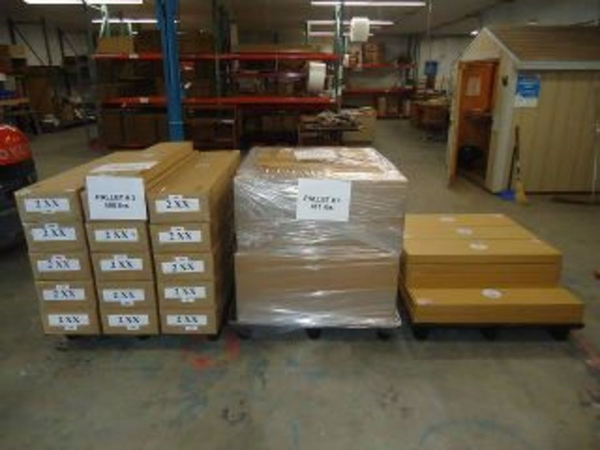 Packaged chimes on the warehouse floor, headed for Germany.