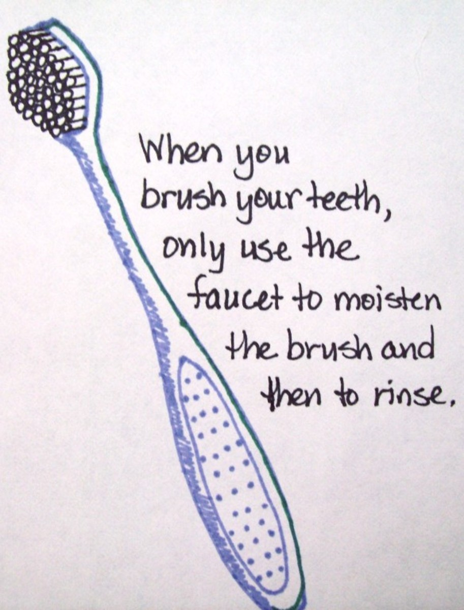 My quick sketch of a toothbrush.  Don't forget: run the faucet only when you need to moisten the brush before brushing and then to rinse.