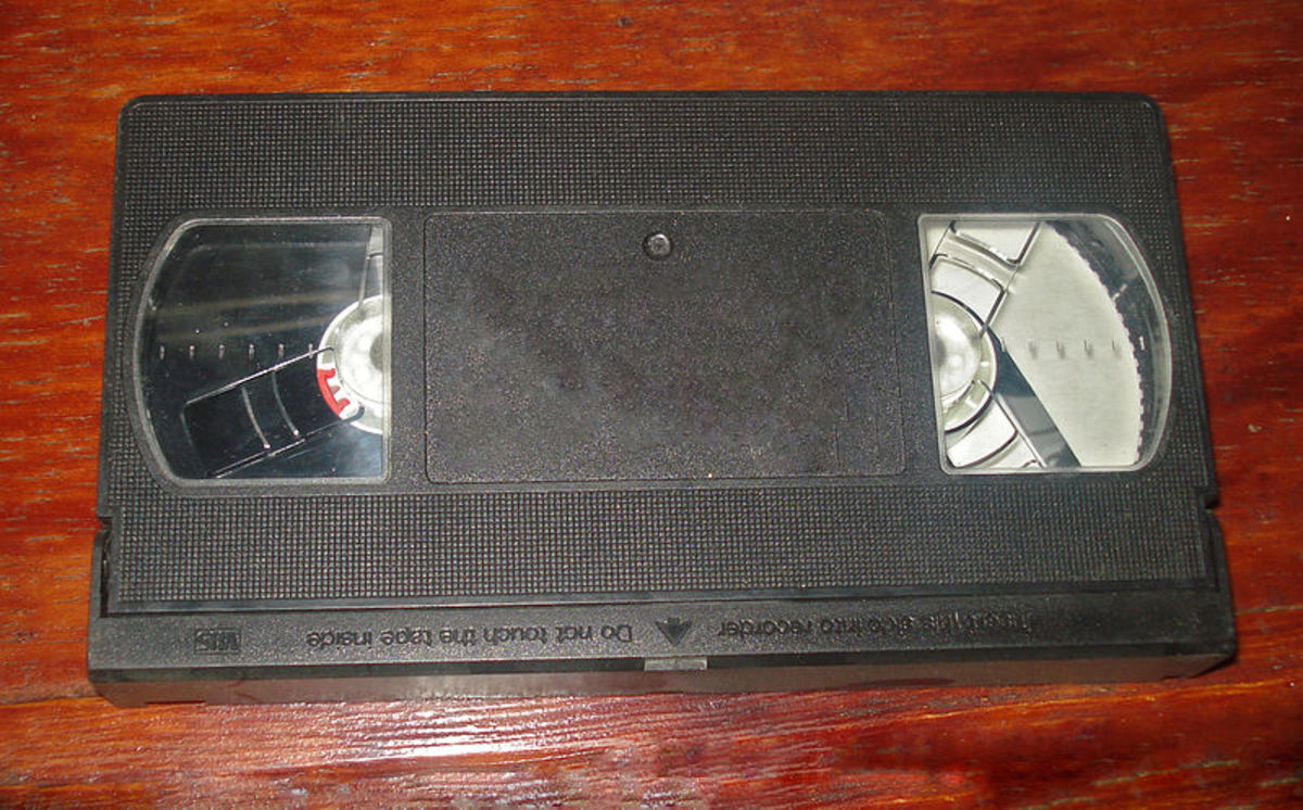 The front of a VHS tape. VHS tapes are old and mostly obsolete, but they are much more durable than CDs.