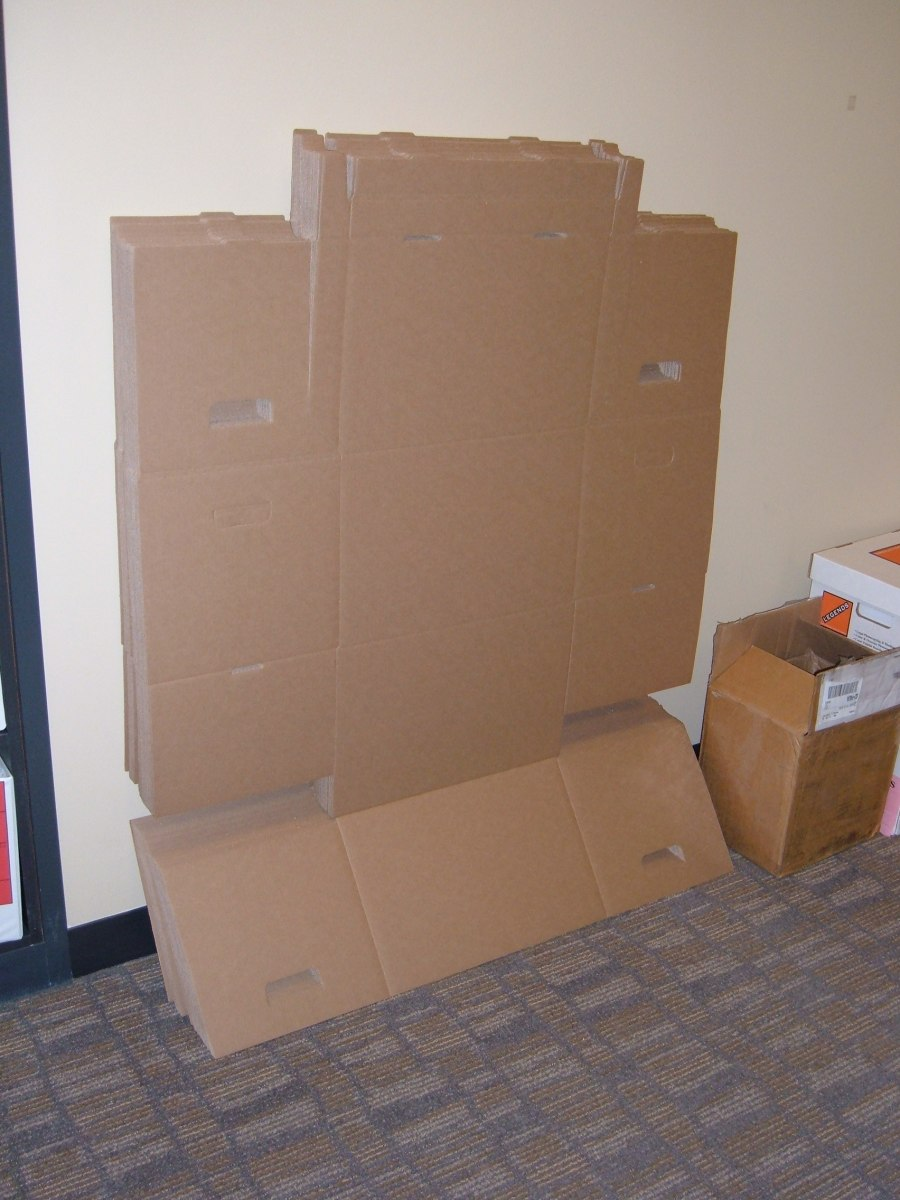Some very large boxes for shipping. You can get all types of size boxes for free if you have good connections. Remember, a lot of people pay to get rid of cardboard and sometimes it is nice boxes like these.
