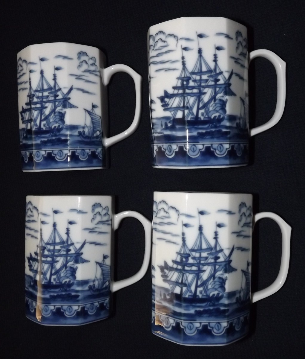 Set of 4 Tall Ships and Chinese Junks Mugs That Sold for $32.00