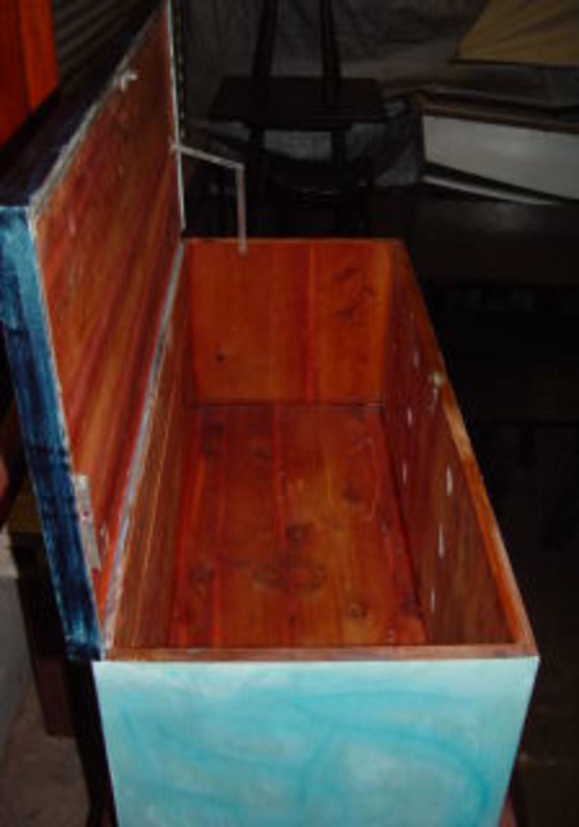 Recycled and restored cedar hope chest.  Purchase price: $20.  Total Profit: $200