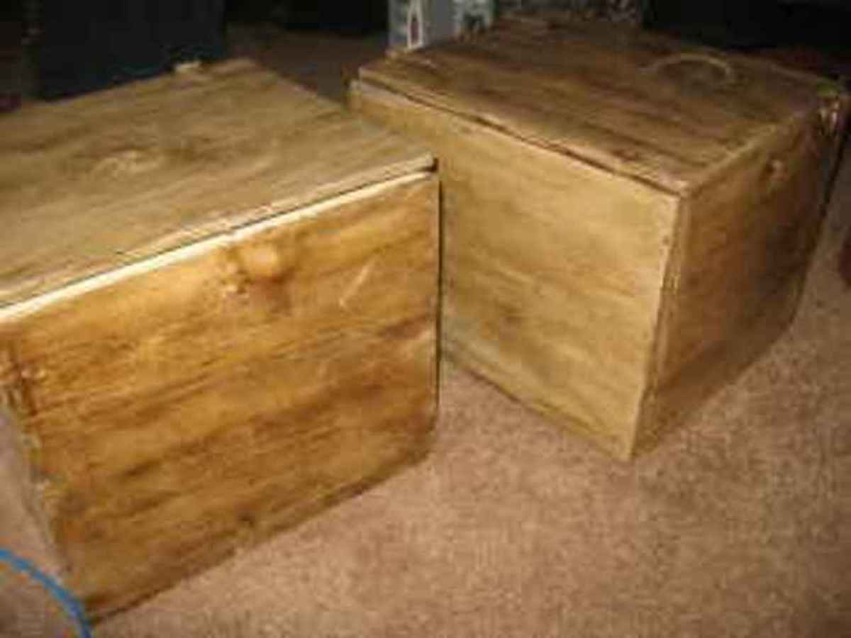 Set of velvet lined boxes, made from left over plywood.  Total profit: $100