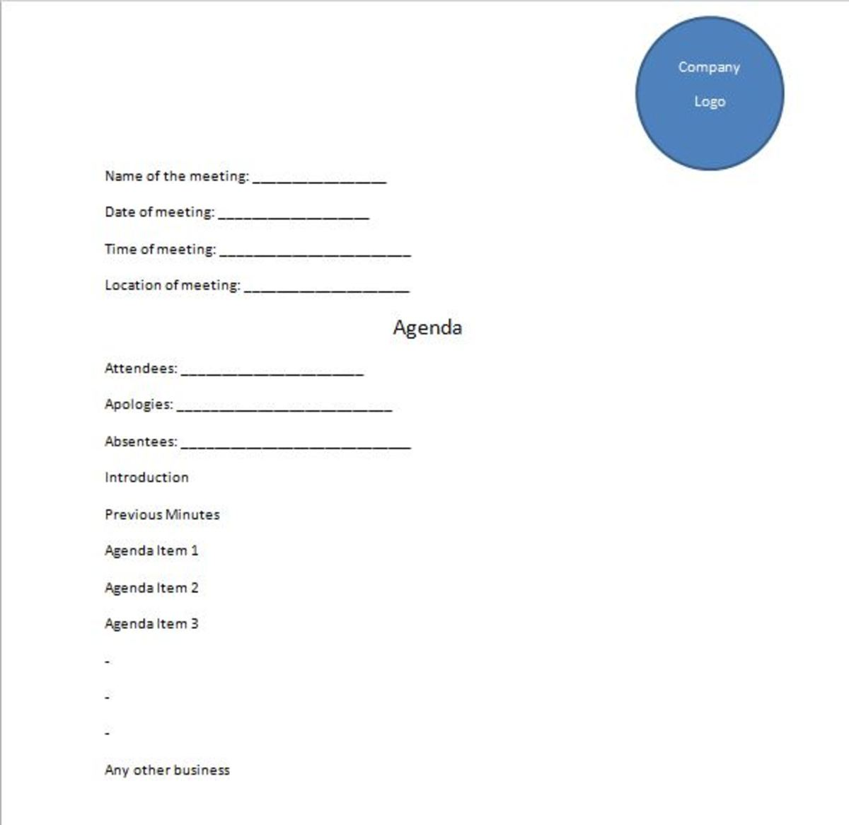 Sample template for Meeting Agenda
