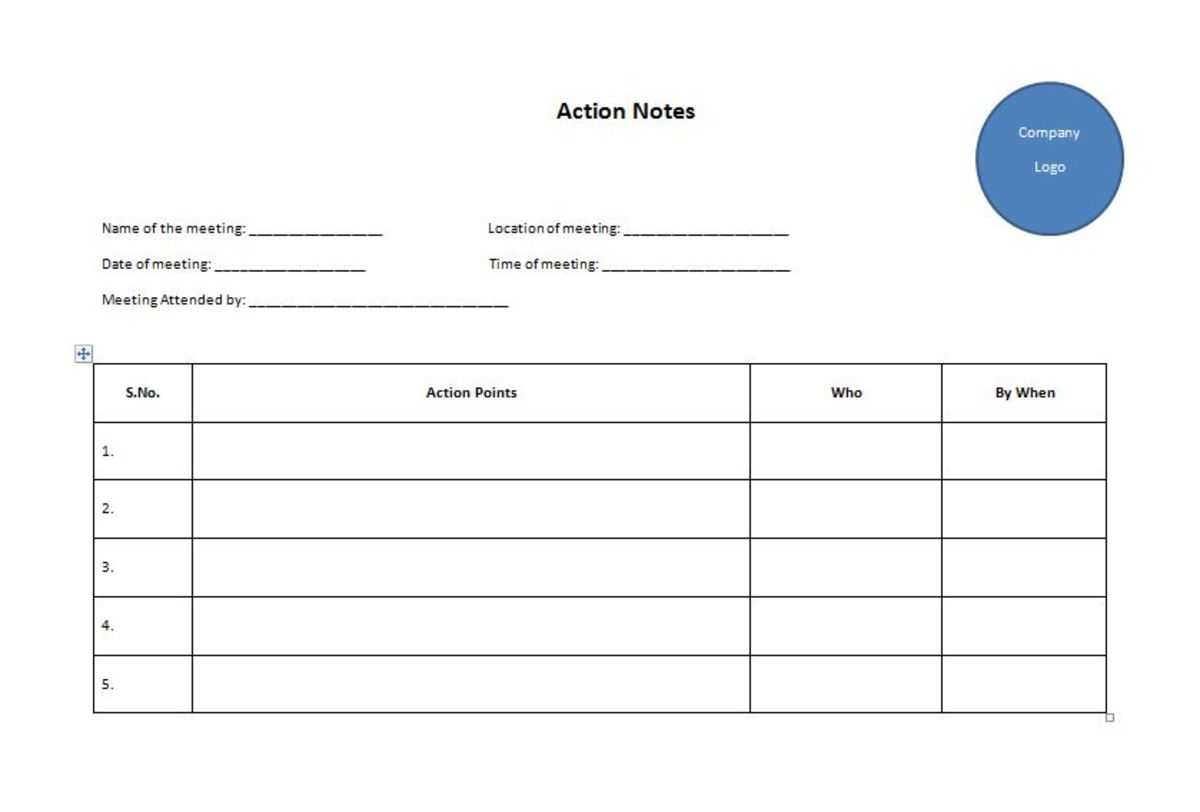 Sample template for Action Notes
