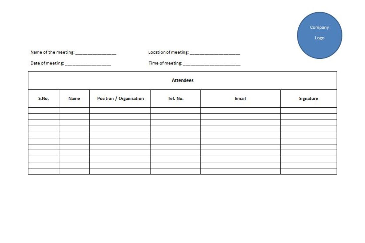 Sample template for Attendance Sheet