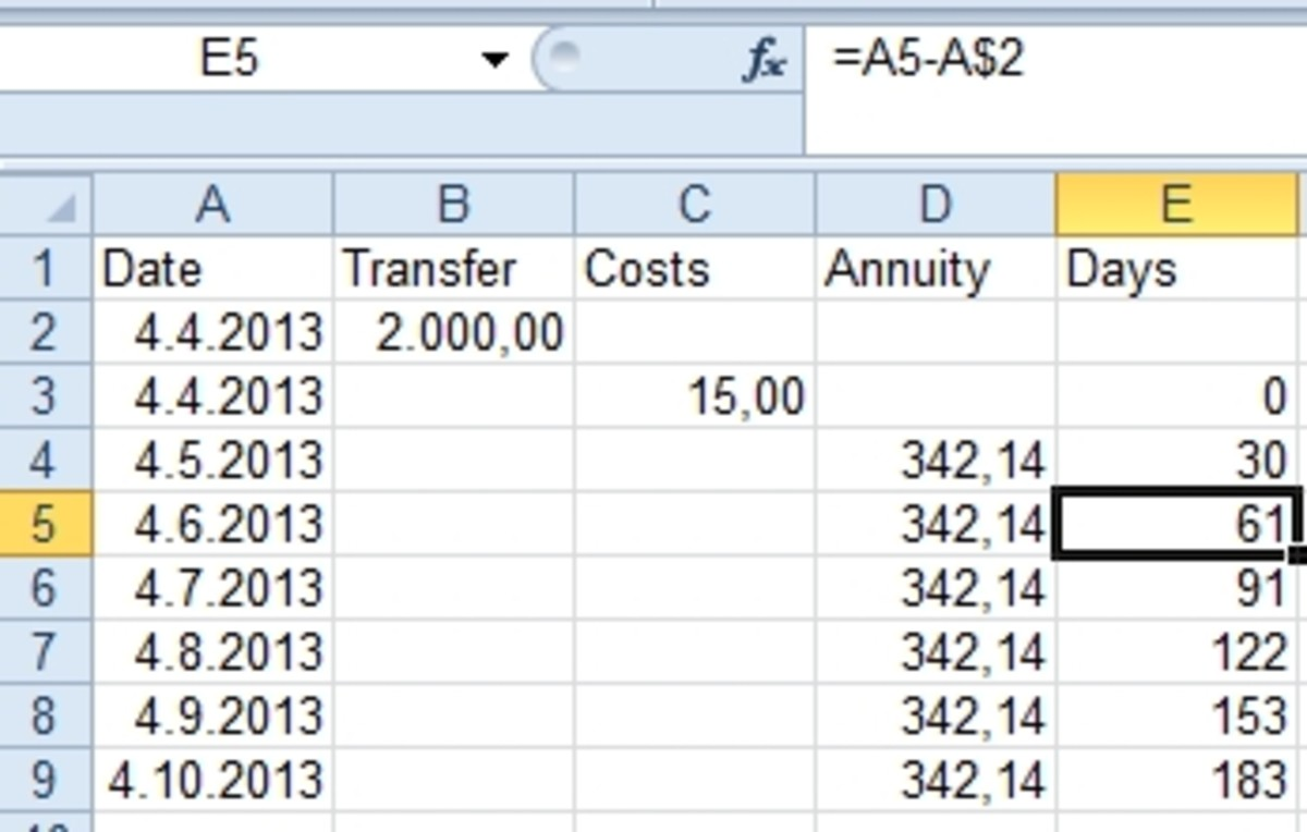 Calculate the number of days of transfer credit to a refund.