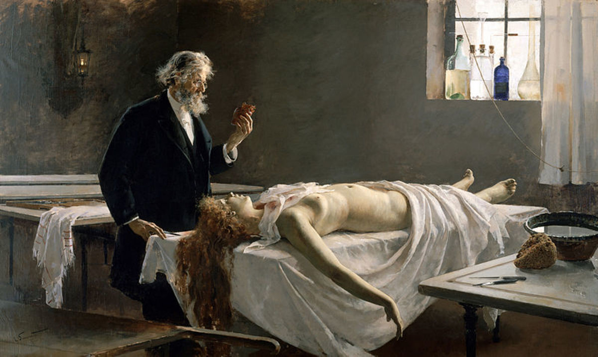 This 1890 oil canvas portrays the autopsy.
