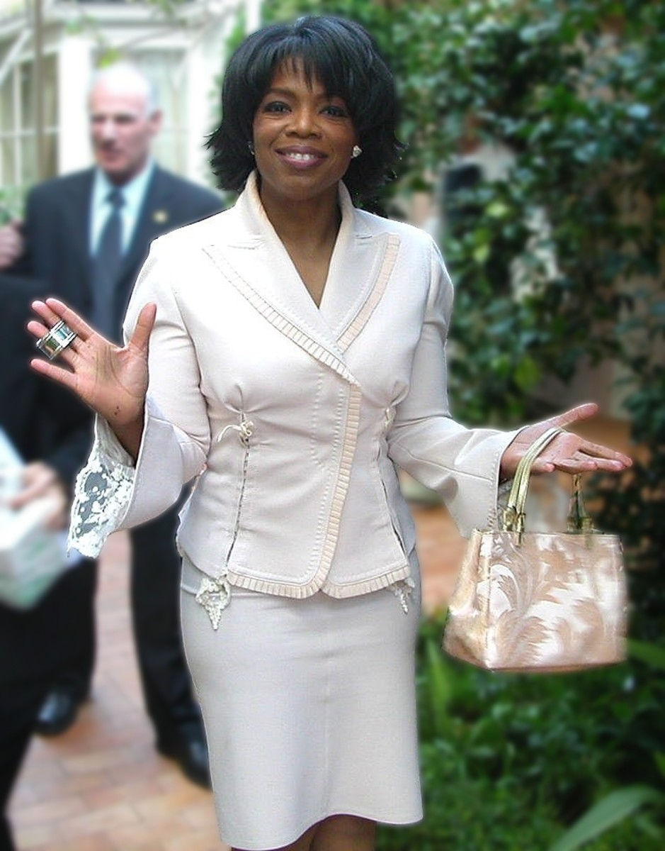 Oprah Winfrey at her 50th birthday party in 2004. Oprah demonstrates all four types of leadership.